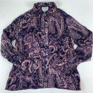 Talbots Pure Silk Button Down Shirt Size 4 Paisley